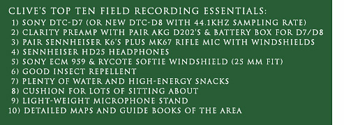 Clive Williamson's Top Ten Field Recording Essentials