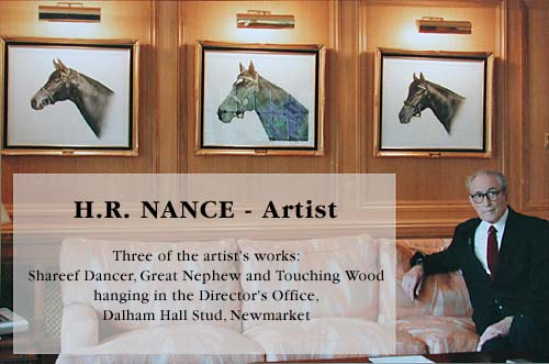 Harry Nance with three of his pictures