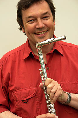 John Hackett and flute with special head-joint