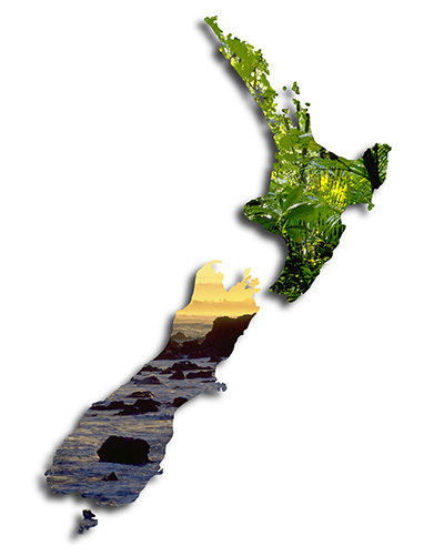 New Zealand landscapes superimposed on a map of New Zealand